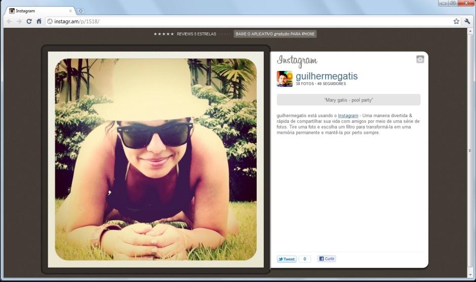 printscreen de uma foto postada por Guilherme Gatis no Instagram