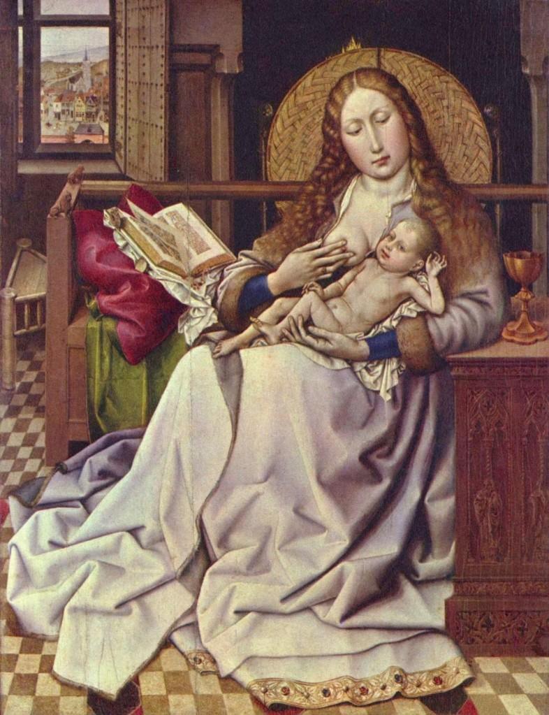 A virgem e o menino à frente de um guarda-fogo | (atribuída a) Robert Campin (datada entre os séculos XIV e XV)