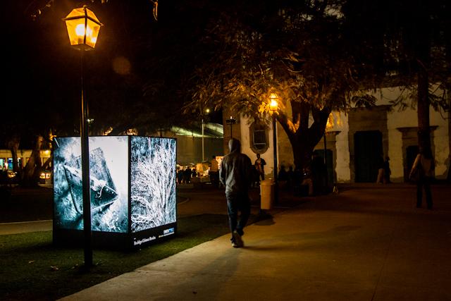 Cubo de Rodrigo Rovira iluminado em frente à Matriz | Bella Valle