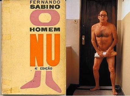 """Capa do livro """"O Homem Nu"""", de Fernando Sabino, e capa do filme de Hugo Carvana."""