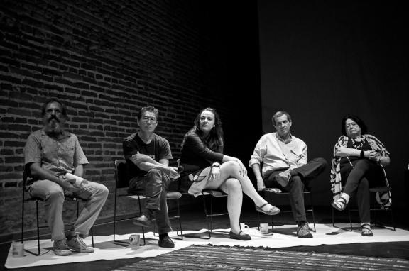Eduardo Queiroga, Miguel Chikaoka, Ana Maria Schultze, João Kulcsár e Ana Mae Barbosa na abertura do EFE | Foto Ana Lira/Retratografia